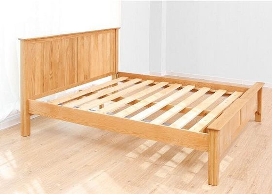 Custom Home Oak Solid Wood Bed Frame Queen Size European Style High Grade