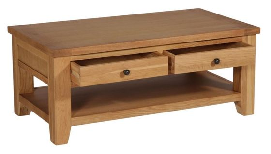 Rectangle Oak Wood Modern Solid Wood Coffee Table With Drawers Natural Color