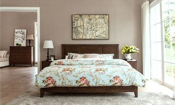 China Family Dark Wood Master Bedroom Furniture , Solid Pine Bedroom Furniture Sets supplier