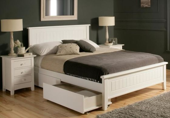 White Queen Size Solid Wood Bedroom Furniture Sets Modern Style Eco ...