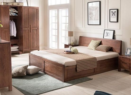 Mordern Custom Oak Solid Wood Bedroom Furniture Sets Simple Style Environment - Friendly