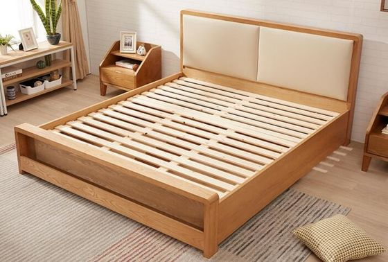 China Pine Queen Size Solid Wood Bed Frame With Drawers Chunky Wooden Beds High Standard supplier