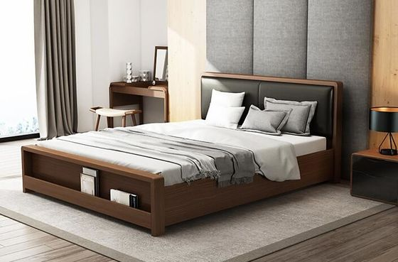 China Soft Bedhead  Black Solid Wood Bed Frame King Size Modern Style Highly Endurable supplier