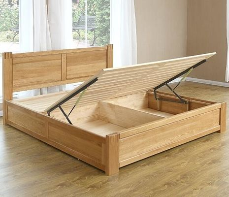 China Handmade Bedroom Oak Solid Wood Bed Frame With Box Storage Full Size Customized supplier