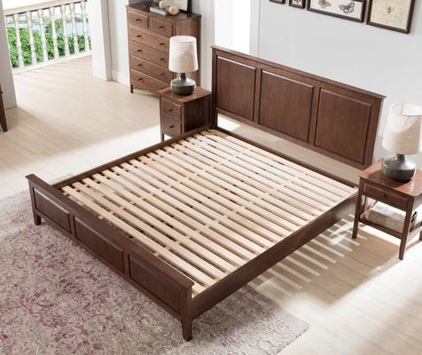 Traditional Bedroom Solid Wood Bed Base Cherry Wood Low Platform