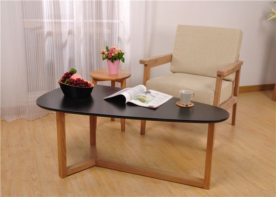 China Economic Drop Black Wood Coffee Table , Living Room Leisure Display Coffee Table supplier