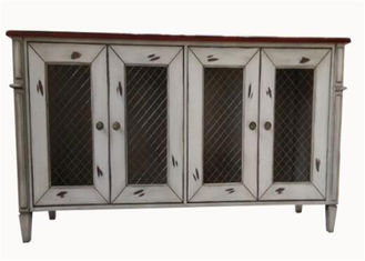 China Bedroom Rustic White Wood TV Stand With Doors , Customized Solid Wood TV Cabinet supplier