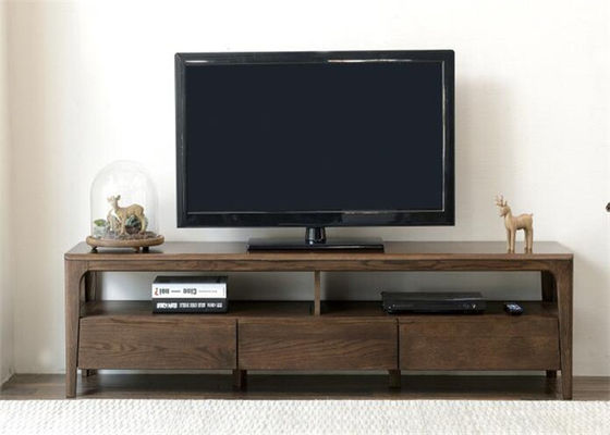 China Long Rustic Wood Tv Stand With Storage , Practical Pine Solid Wood Tv Stand supplier