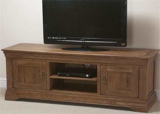 Natural Wood Bedroom Wooden Tv Cabinet , Entertainment Tv Console Cabinet
