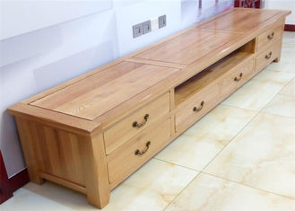 China Beech Media Tv Unit Furniture , Family Long Natural Wood Tv Stand Eco -  Friendly supplier