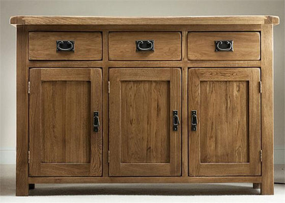 China Home Tall Solid Oak Storage Cabinet With Doors , Large Wooden Storage Cabinets supplier