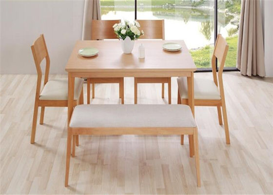 Home Long Oak Kitchen Bench Seating , Natural Cherry Wood Dining Bench High  Grade