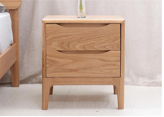 China 2 Drawer Light  Solid Cherry Nightstand , Home Bedroom Real Wood Nightstands supplier