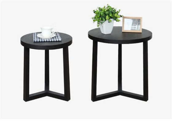 Living Room Small Black Side Table , Practical Accent Real Wood End Tables
