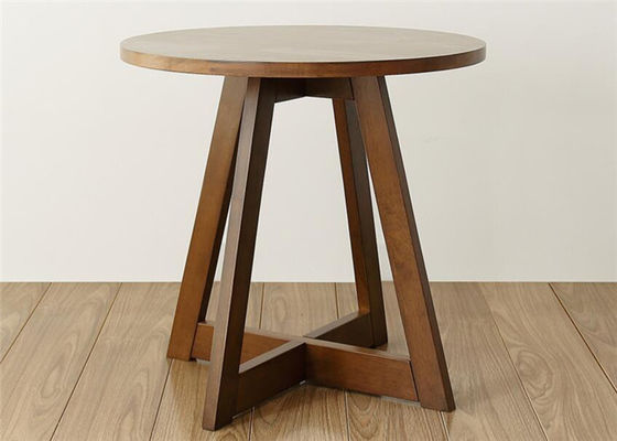 China Family Walnut Solid Wood End Tables , Economic Circular Side Table Simple Style supplier