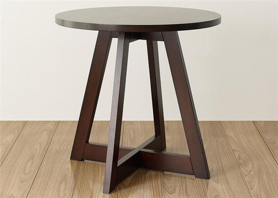China Unique Rustic Dark Wood Side Table , Practical Bedroom  Round Wood Side Table supplier