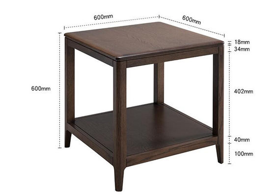 China Square Hardwood  Solid Wood Side Table Small Black Thin End Table Simple Style supplier