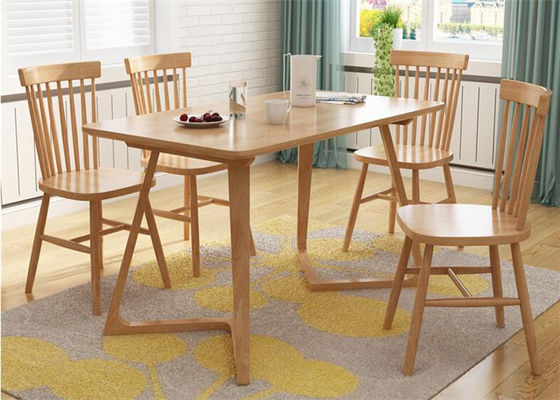 China Breakfast Solid Oak Dining Table And Chairs , Square Rustic Dining Room Table supplier