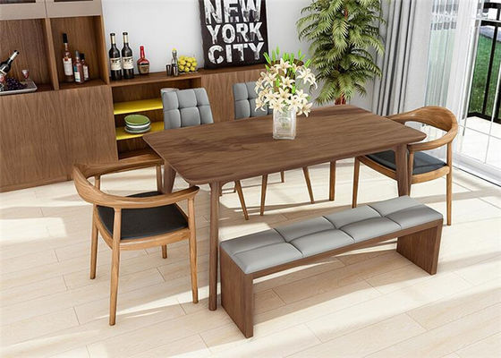 China Classic Leather 6 Chairs Contemporary Walnut Dining Table Set , Kitchen Walnut Wood Dining Table supplier