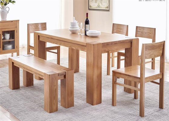 China Farmhouse  Natural Oak WoodHotel Dining Table With Benches Environment - Friendly supplier
