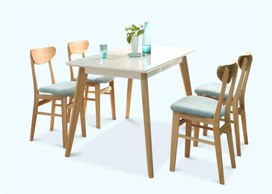 China 4 Seats Light Oak Dining Table , Small White Wooden Hardwood Dining Table Set supplier