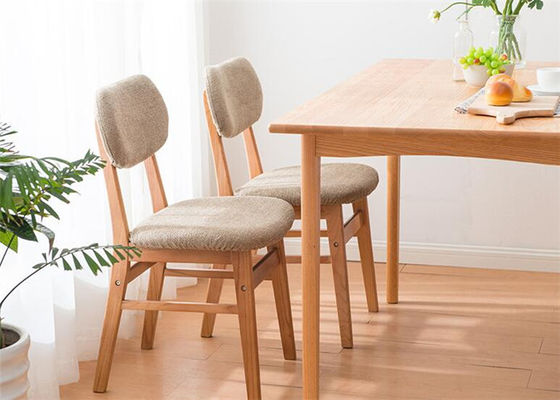 Home Contemporary Fabric Solid Wood Dining Chairs Natural Wood Color Eco    Friendly