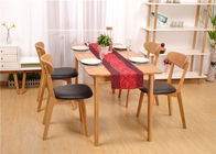 Birch Wood Modern Square Dining Room Table , Economic Solid Wood Kitchen Tables