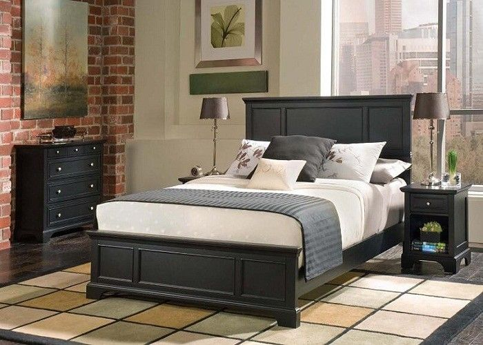 Contemporary Hotel Solid Wood Bedroom Furniture Sets High Density Form  Highly Endurable