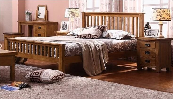 Comfortable Real Wood Bedroom Furniture , Economic Solid Cherry ...