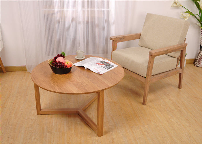 Small Living Room Modern Solid Wood Coffee Table Round Simple Style High  Grade