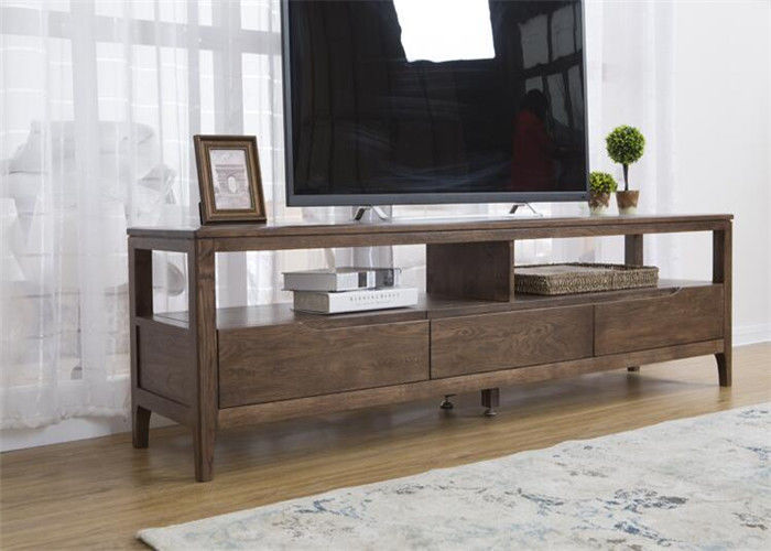 Simple Solid Oak Wood 42 Inch Living Room TV Stand Unit Environment ...