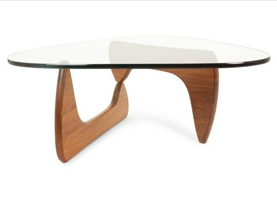 Modern Glass Oval Oak Solid Wood Side Table Simple Style For Living Room