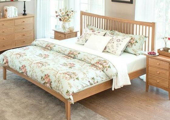 China King Size Natural Wood Bedroom Set , Economic Cherry Wood Bedroom Furniture factory