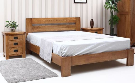 Complete Economic Dark Wood Bedroom Set , Solid Wood Contemporary Bedroom Furniture