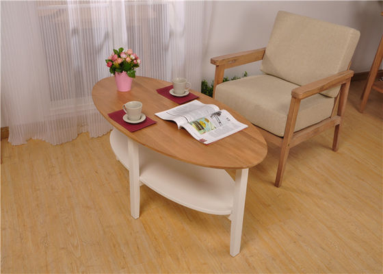 Home Oval White Modern Solid Wood Coffee Table Double Layer Color Optional
