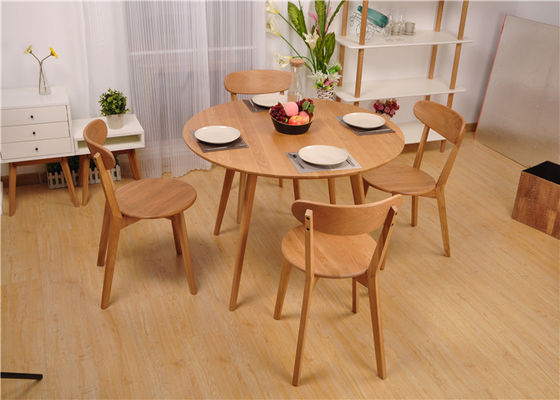 Modern Round Dining Table And Chairs , Hardwood Dining Room Furniture Sets