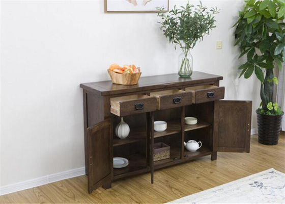 Natural Black Wood Storage Cabinet , Solid Wood Family Room Storage Cabinets