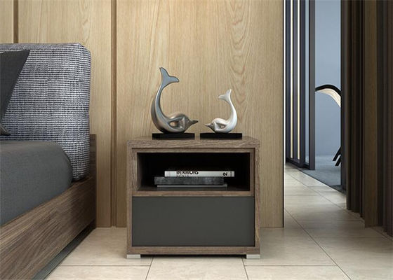 Modern Hotel Dark Cherry Nightstand , Family Small Nightstand With Drawers