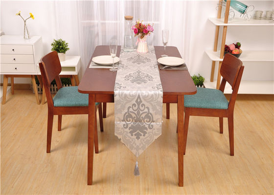 Farmhouse Walnut Dining Table And Chairs , Rectangle Real Wood Dining Table