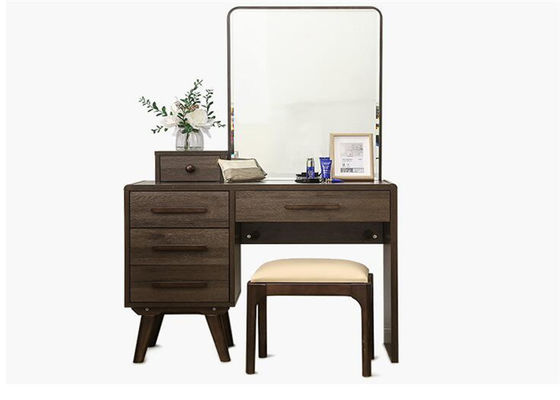 Dark Mirror Women Solid Wood Dressing Table Strong Structure Eco -  Friendly