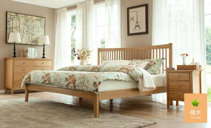 King Size Natural Wood Bedroom Set , Economic Cherry Wood Bedroom Furniture
