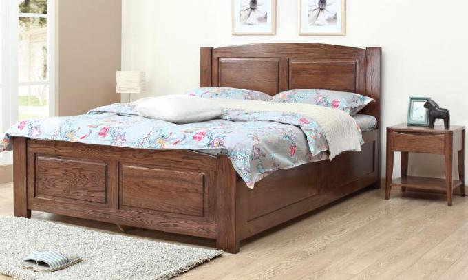 Home / Hotel Rooms Solid Wood Storage Bed , Real Wood Bedroom Furniture Sets