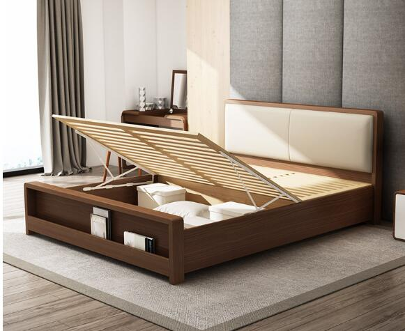 High Standard Wooden Queen Bed Base , Home Wooden Bed Frames With Storage