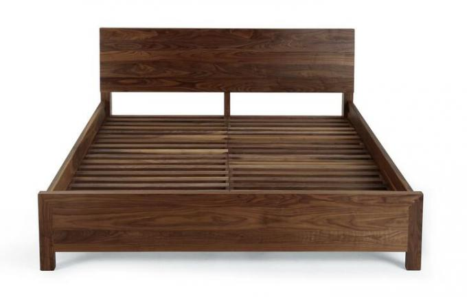 Walnut Dark Solid Wood King Bed Frame , Economic Wood Platform Bed Frame Queen