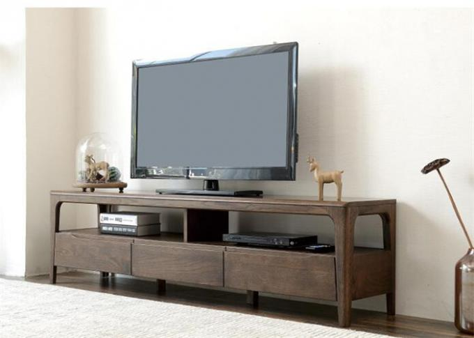 Long Rustic Wood Tv Stand With Storage , Practical Pine Solid Wood Tv Stand