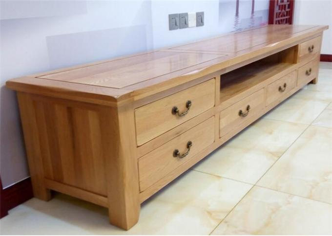 Beech Media Tv Unit Furniture , Family Long Natural Wood Tv Stand Eco -  Friendly