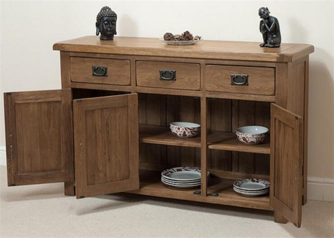 Home Tall Solid Oak Storage Cabinet With Doors , Large Wooden Storage Cabinets