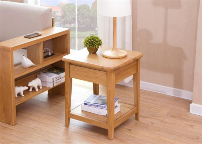 Solid Cherry Small Wooden Side Table , Home Narrow Sofa Pedestal Pine Side Table