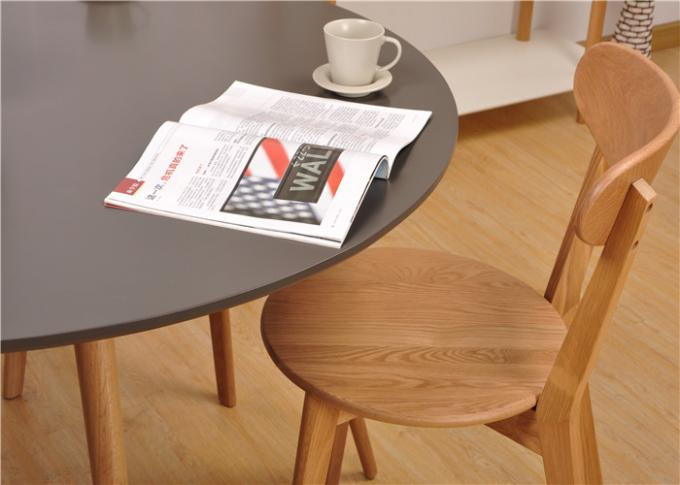 Practical Black Top Round Kitchen Table And Chairs , Modern Natural Wood Dining Table