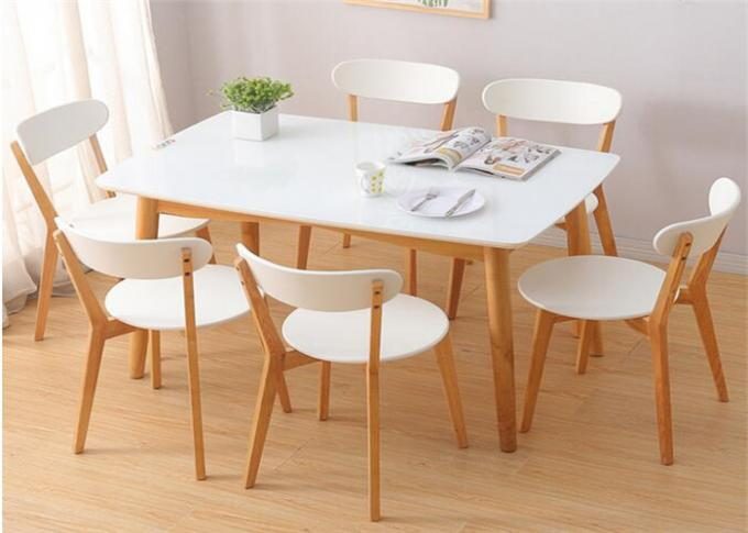 Birch Wood And Fabric Coffee Hotel Dining Table 4 Seater High Standard Eco -  Friendly